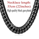 Chunky Necklace Gold/Black Hip Hop Chains Stainless Steel Statement Heavy Men Necklace Chain