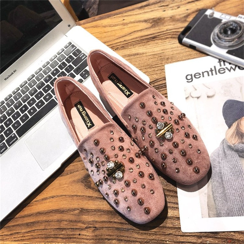 Women Bling Single Shoes Fashion Metal Ladies Shallow Loafers Casual Loafers Slip-Ons
