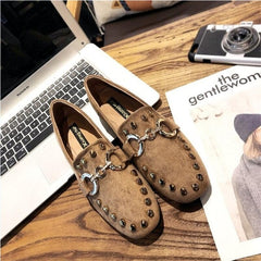 Woman Flat Slip on Loafers Flats Luxury Metal Chain Rhinestone Shoes Casual Shoes
