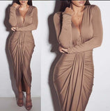 2018 fashion sexy winter plus size long dress solid cotton full sleeve v-neck