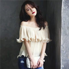 Frilled Pleated Blouses Off Shouder Cute Bardot Summer Tops Ruffle Layered Beach Ladies Blouse