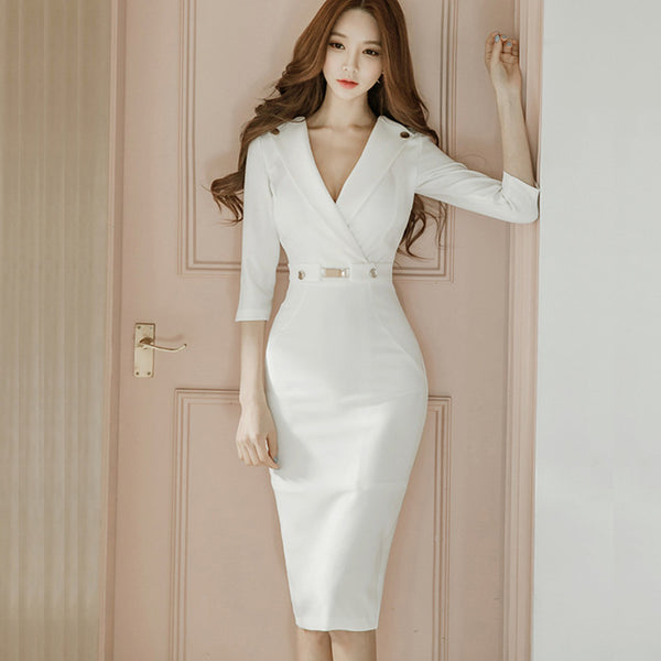 Summer Office V-neck Ladies Bussiness Pencil White Dress Women Casual Bodycon Dresses