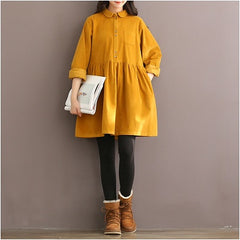 Vintage Corduroy Long Sleeve Peter Pan Collar Mori Girl Red Dress Autumn Winter Women Dress