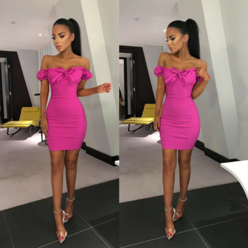 Off Shoulder Bandage Lovely Fold Bodycon Evening Party Club Mini Dress