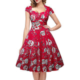 iPretty Skull Print Dress Vintage Square Collar Wrapped Chest Plus Size Swing Pin Up Dress