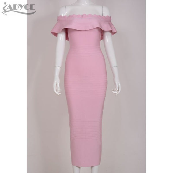 Ruffles Off Shoulder Strapless Party Dress Bodycon Elegant Evening Bandage Dress