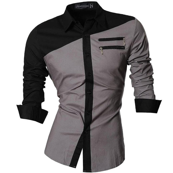 Spring Autumn Features Shirts Men Casual Jeans Long Sleeve Casual Slim Fit Shirts