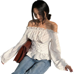 Korean Tops Spring Summer Off Shoulder Ruched Bandage Strap Bardot Blouse Long Sleeve Shirt
