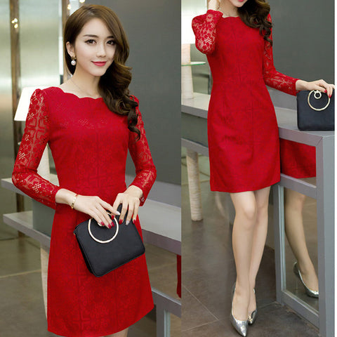 red office dress