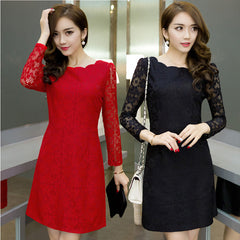 Women Red White Black Autumn Dress Robe Office Lace Bodycon Party Dresses Women Casual Dress