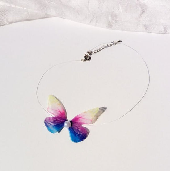 Butterfly Choker Necklace Personality Colorful Women Collar Chokers Creative Party Necklaces