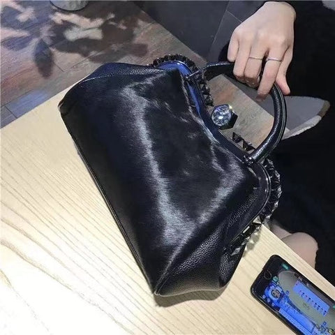 Luxury Handbags Women Bags Horsehair Shoulder Diamond Trendy Leather Crossbody Bags