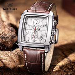 Megir Casual Military Chronograph Quartz Watch Men Luxury Waterproof Analog Leather Wrist Watch