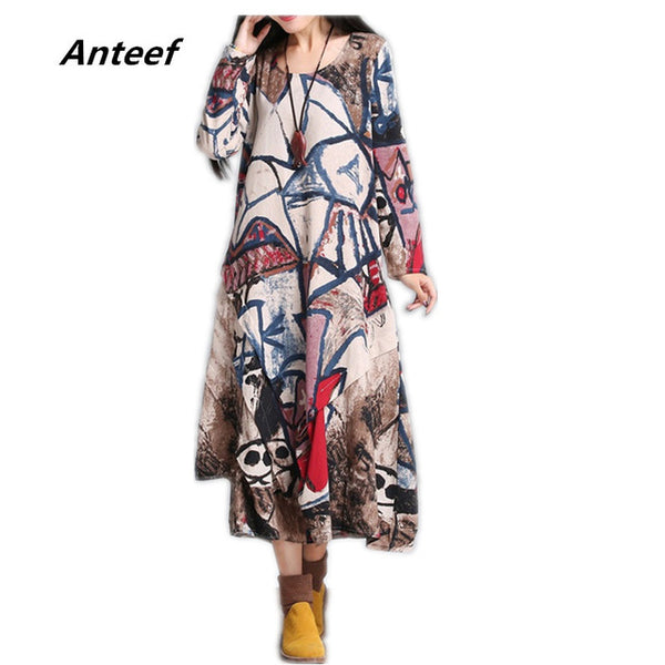 Cotton Linen Vintage Print Women Casual Long Loose Autumn Dress Vestidos Party Dresses