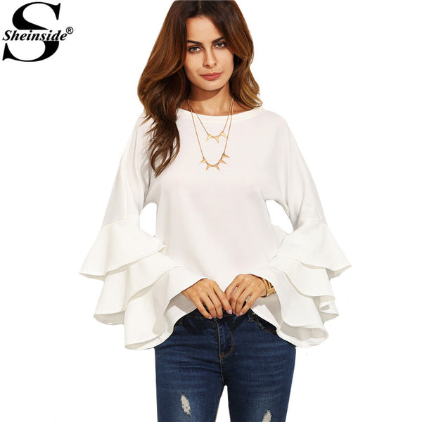 Sheinside White Round Neck Ruffle Long Sleeve Shirt Ladies Work Wear Tops Vogue Blouse