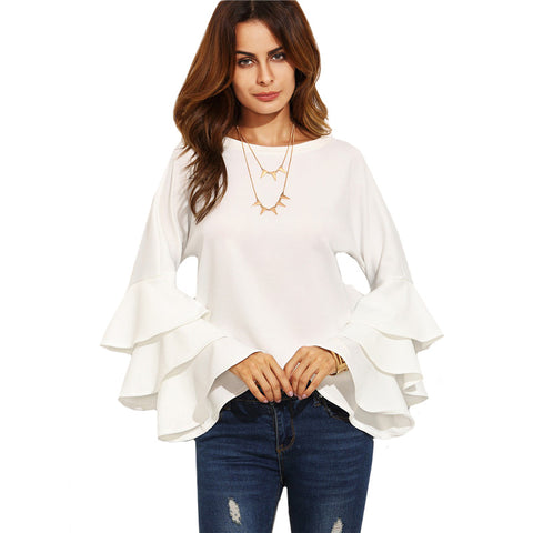 White Round Neck Ruffle Long Sleeve Shirt
