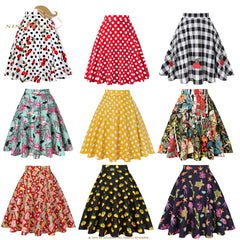 Vintage Skirts High Waist Cotton Swing Retro Women Skirt Black Plaid Summer Skirt