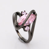 Black Ring for Women Wedding Band Luxury Engagement Jewelry Pyriform Pink Cubic Zircon Ring