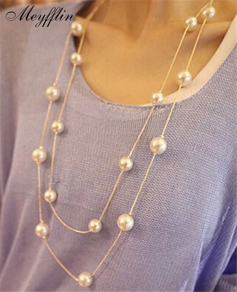 Simulated Pearl Jewelry Collier Long Necklaces & Pendants Big Multilayer Gold Collares