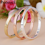 Luxury Stainless Steel Cuff Bracelets Bangles Top Gold Plated Crystal Buckle Love Charm Bracelet