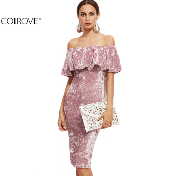 COLROVE Sexy Dresses Party Night Club Off Shoulder Bodycon Pink Ruffle Sheath Elegant Dress