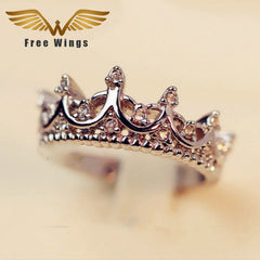Silver Crown Rings For Women Punk Brand Crystal Jewellery Love Rings Wedding Engagement Rings
