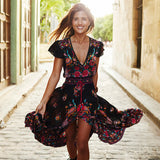 BellFlower Boho Dress Etehnic Sexy Print Retro Vintage Dress Tassel Beach Bohemain Hippie Dress