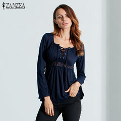 ZANZEA Blouse Sexy V Neck Long Sleeve Lace Shirt Solid Casual Pleated Lace Up Stretch Blouses
