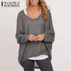 Women Blouse Long Sleeve Casual Loose Solid Color Black Gray Shirt Plus Size Sexy Tops Blouse