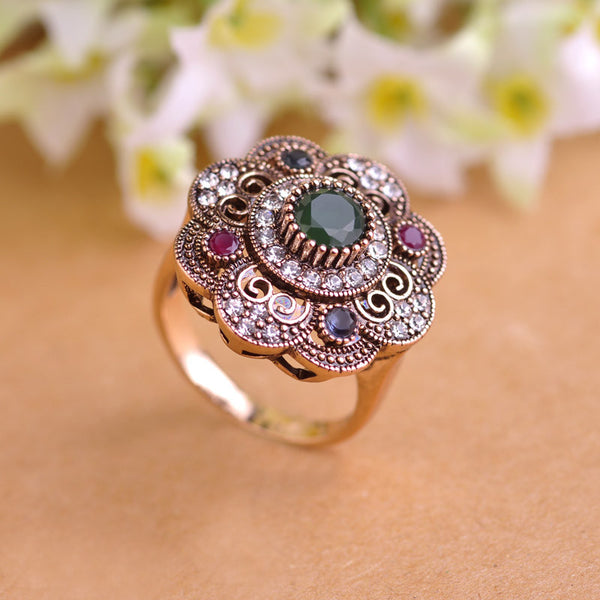 Vintage Sculpture Flowers Rings Emerald Jewelry Fashion Turkish Crystal Anti Silver Finger Ring