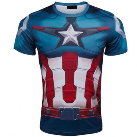 Marvel Super Heroes Top Short Sleeve Fashion Men Fitness T shirt Round Neck Print Style