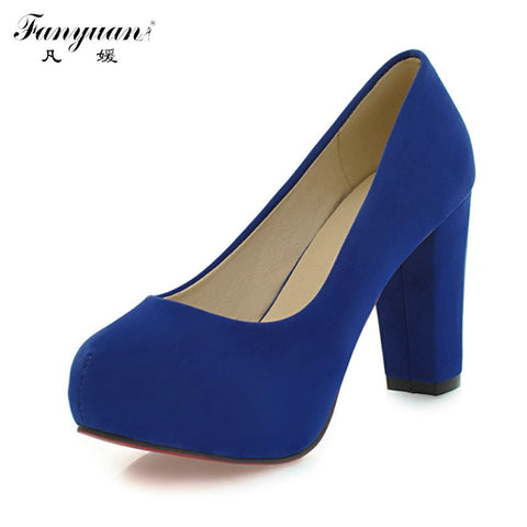 Shallow Thick High Heels Round Toe High Heels Platform Pumps Shoes Sexy Buckle Strap Pumps