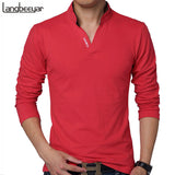 Men Clothes Solid Color Long Sleeve Slim Fit T Shirt Men Cotton T-Shirt Casual T Shirts
