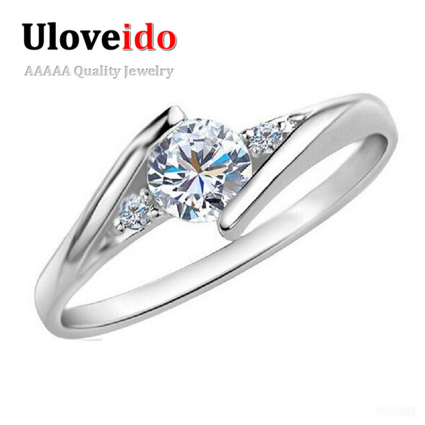 White Gold Plated Wedding Jewelry Rings Crystal Engagement Silver Zircon CZ Diamond Ring Rose Gold