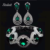 Wedding Bridal Jewelry Sets Rhinestone Austrian Crystal Jewelry Set Bracelet Earrings Pendant Set