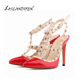 LOSLANDIFEN Pumps Stiletto Sexy Hollow Rivets Stitching Fine High-heeled Shoes Wedding