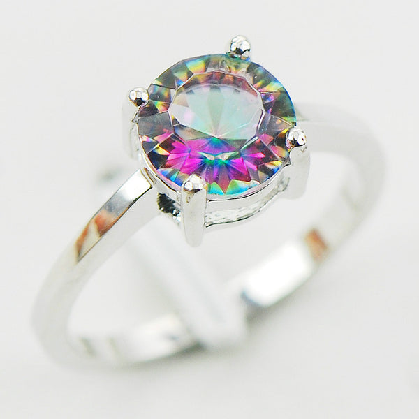 Concave Cut Rainbow Mystic Simulated Topaz 925 Sterling Silver Wedding Party Design Ring