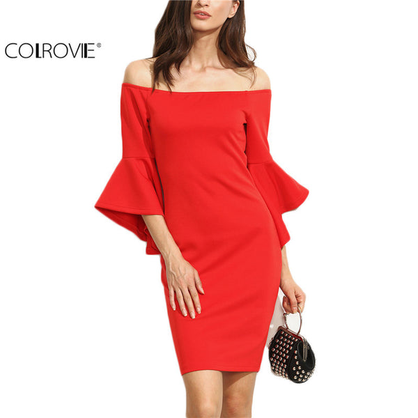 COLROVIE Red Dresses Ruffle Sleeve Off Shoulder Summer Bodycon Sheath Ladies Club Wear Mini Dress
