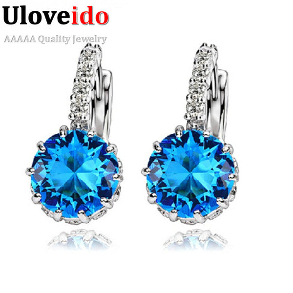 Women Stud Earrings 925 Sterling Silver Black Jewelry Blue Crystal Earring Pink Purple Brincos