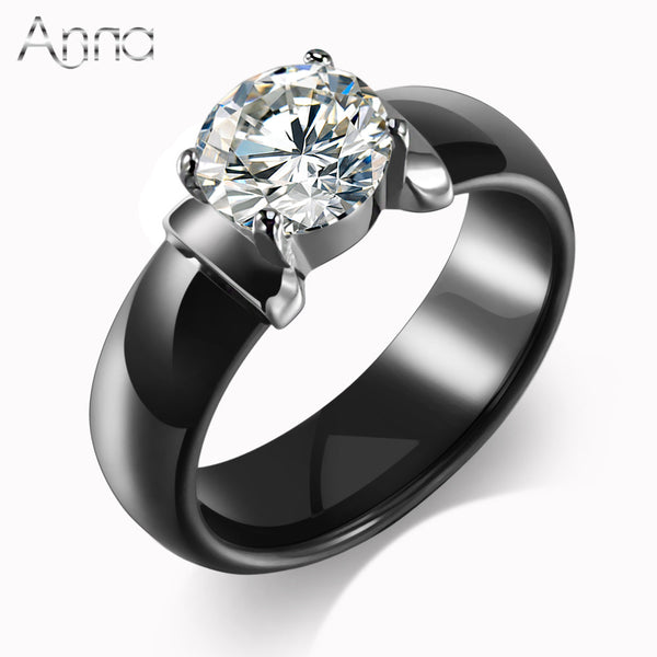 Ceramic Rings Huge Zircon Cabochon Setting Black & White Wedding Rings Cute Simple Unique Design