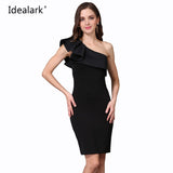 IDEALARK Sexy Ruffles Dresses One Shoulder Slim Solid Color Casual Bodycon Sleeveless Party Dress