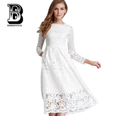 Hollow Out Elegant White Lace Party Dress High Quality Women Long Sleeve Casual Dresses