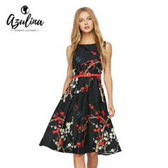 AZULINA Vintage Floral Print Sleeveless A Line Bohemian Summer Black Flower Printed Boho Dress