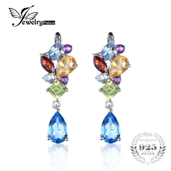 JewelryPalace Multicolor Blue Topaz Amethyst Citrine Garnet Peridot Earrings 925 Sterling Silver