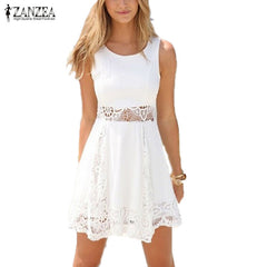 Zanzea Summer Style White Dress Casual Solid Lace Strapless Sexy A-line Short Mini Dresses