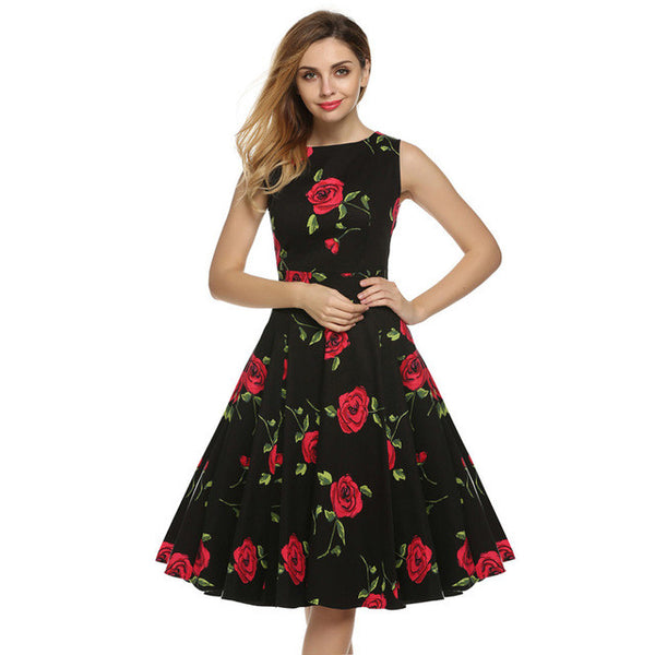 ACEVOG Dress Retro Vintage Rockabilly Floral Swing Dresses Elegant Bow-knot Tunic Vestidos