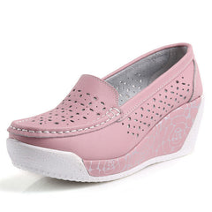Women's Shoes Genuine Leather Footwear White Black Pink Comfort Wedges Breathable Swing Pumps