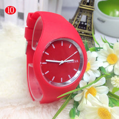 Women Sport Watches Color Ultra-thin Gift Geneva Silicone Wristwatch