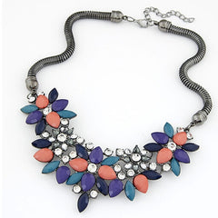 Retro Style Colorful Gem Rhinestone Flower Choker Necklace Statement Jewelry