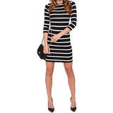 Women Round Neck Black and White Striped Long Sleeve Straight Casual Dress